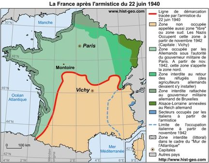 Carte administrative de la France au 22 juin 1940