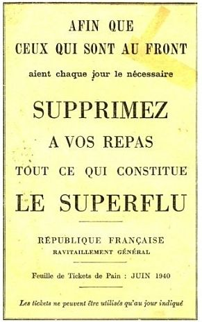 1940 Rationnement du pain