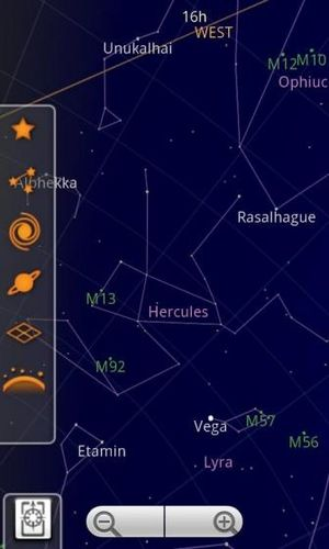 Capture d'écran de Google Sky Map