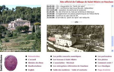 Copie de la page Index de 2008 du site Internet de l'abbaye