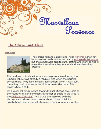 2014 - Marvellous Provence - The Abbaye Saint Hilaire