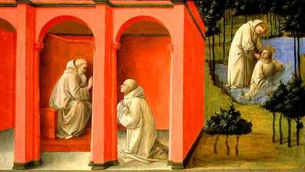 Fra Filippo Lippi - Saint Benedict Orders Saint Maurus to the Rescue of Saint Placidius, Tempera on panel; 41,9 cm x 71.5 cm (whole panel), 40 cm x 69,5 cm (painted surface) - National Gallery of Art à Washington.