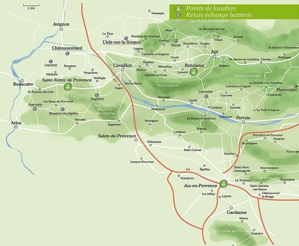 Sun-e-bike en Luberon - Carte interactive des points relais Echange batterie