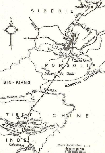 Dans son livre A marche forcée, Slavomir Rawicz, officier Polonais, raconte  son évasion en 1942 du camp 303 (goulag sibérien), et son périple avec sept  compagnons vers l'Inde du Nord, à travers